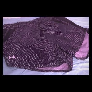Under armor black and purple exercise shorts